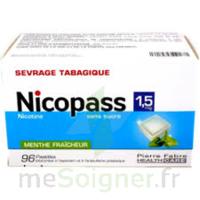 Nicopass 1,5 mg Pastille sans sucre menthe fraîcheur Plq/96 à AUDENGE